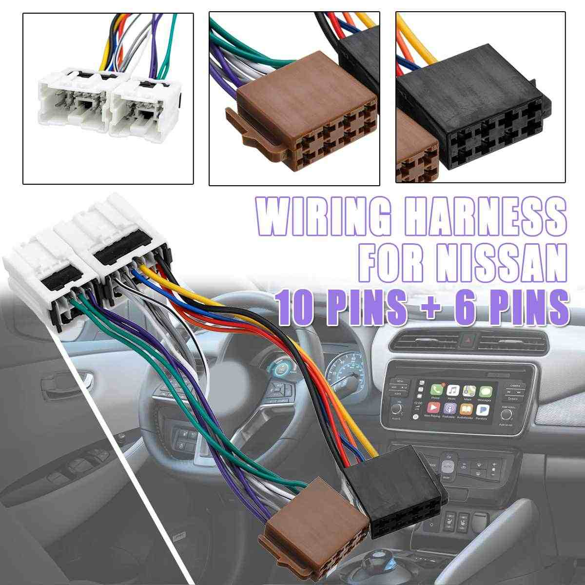 16Pin Car ISO Radio Stereo Wire Cable Harness Adapter Wiring Connector Plug For Nissan X-Trail 300ZX 350Z Maxima Murano Navara