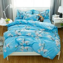 Bed-Cover-Set Pillowcases Comforter Blue Kids Flower-Printed Adult Girl Child And 61037