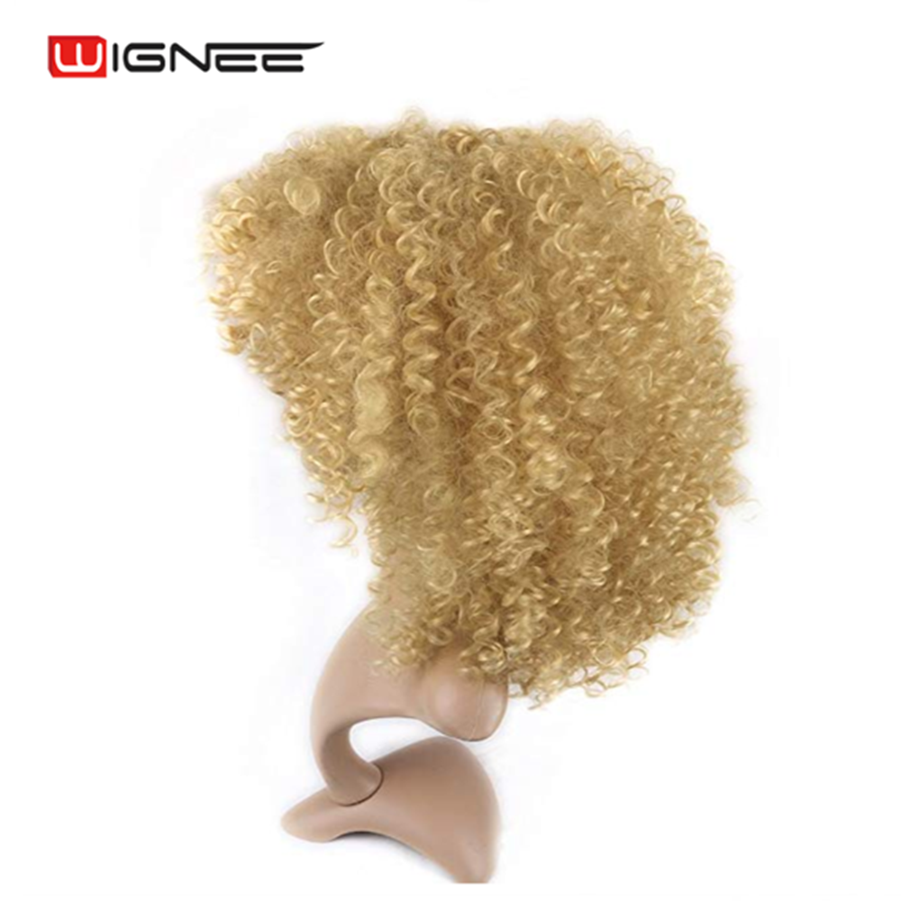 Wignee Short Hair Synthetic Wigs Blonde Kinky Curly for Women Natural Heat Resistant Afro Fake Hair American Female Hair Wigs