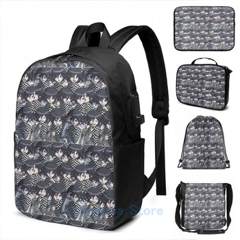 Funny Graphic print Kokichi Ouma USB Charge Backpack men School bags Women bag Travel laptop bag