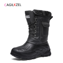 Men Shoes Snow-Boots Work Rain Warm Plush Male Waterproof Mid-Calf Winter Camouflage