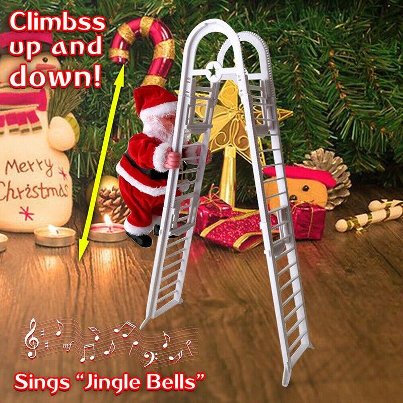 "SANTA CLIMBING LADDER STAIRS SINGS JINGLE BELLS 26/""H CHRISTMAS WINTER NEW"