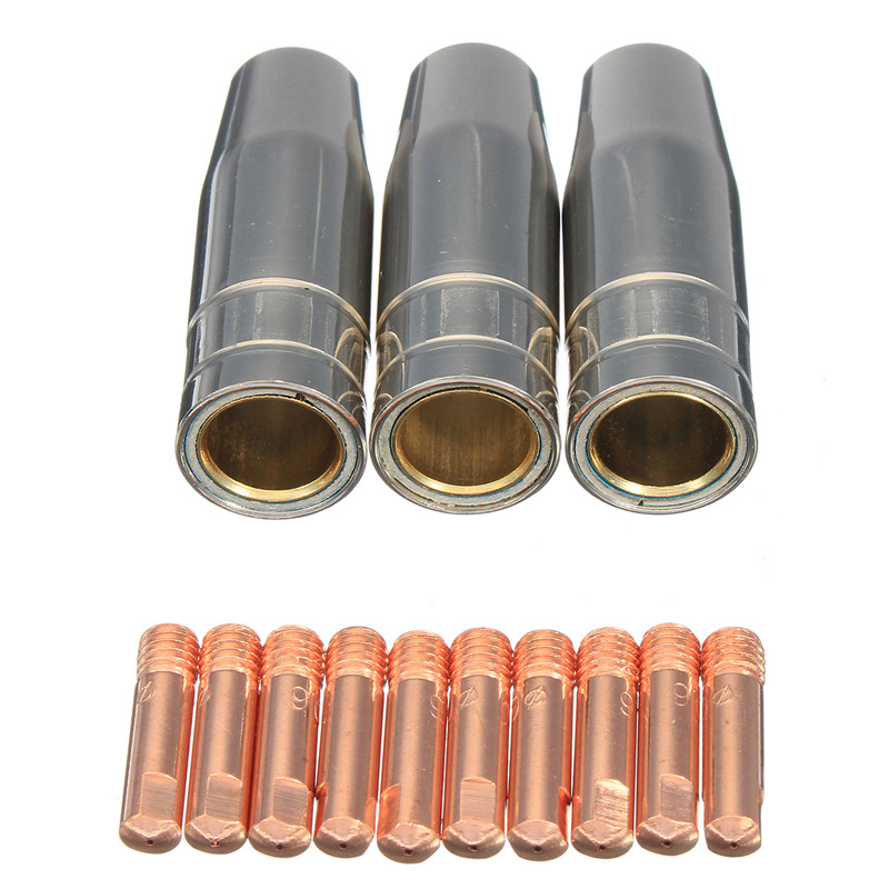12x MB 15AK MIG//MAG Welding Contact Tip 0.8 x 25mm M6 Gas Nozzle Shroud Holder