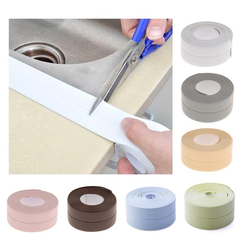 Wall Sealing Strip Caulk Tape Self Adhesive Kitchen Sink Bathroom Basin Tub Edge Waterproof Decorative Trim Flexible PVC Mildew Proof Sealant Strip Keep Wall Corner Countertop Clean Brown 22mm*3.2M