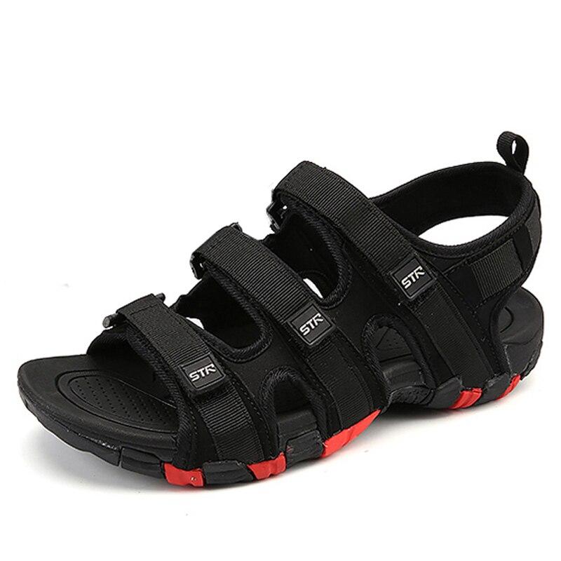 Мужские летние сандалии на липучке, модная Водонепроницаемая Повседневная пляжная обувь черного цвета, размеры 39-44, 2020