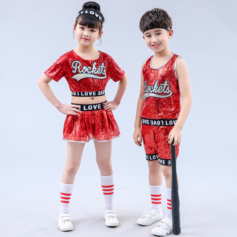 Red Girl Jazz Dance Children Sequin Hip Hop Dance Costume Sparkly Stage Jazz Dance Costumes Suit Girls Crop Top and Pants