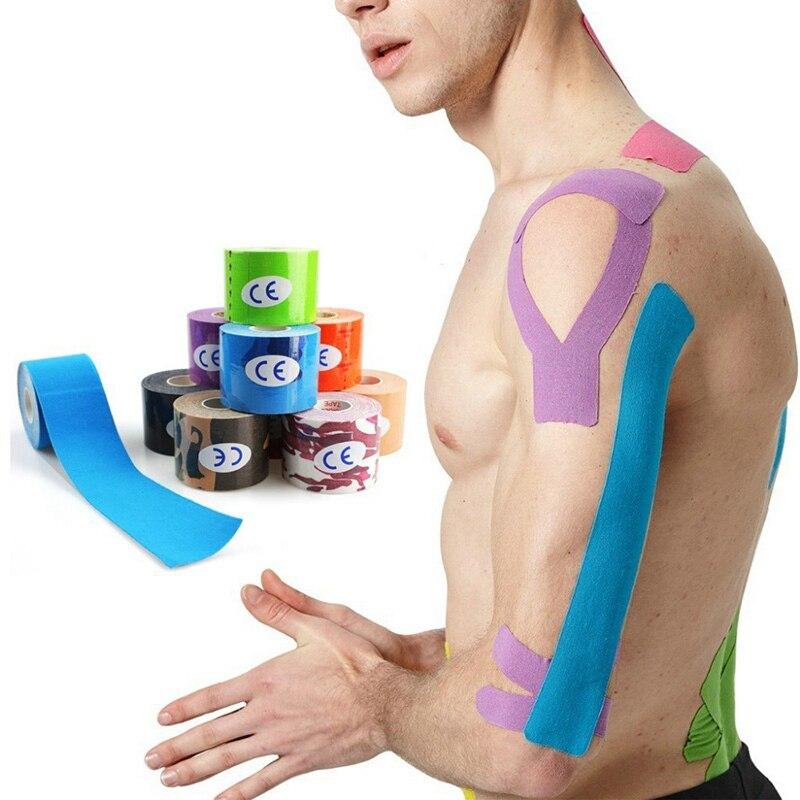 2 размера эластичная кинезиологическая лента Атлетическая восстановительная Спортивная безопасность мышечные боли наколенники Поддержка тренажерный зал фитнес бандаж