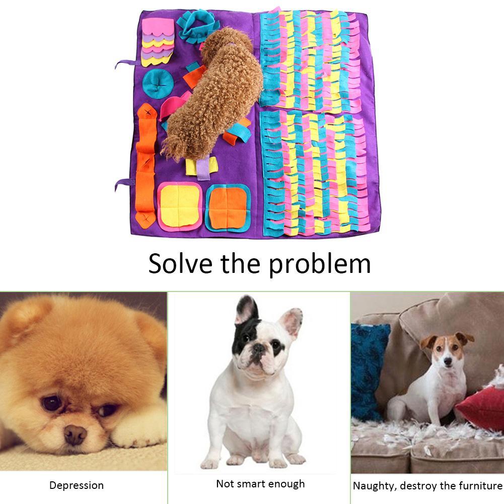 Tapete de snuffle para cães de estimação, cobertor de treinamento para cheirar animais de estimação  Almofadas de lã removíveis,  Tapete de cachorro para aliviar o estresse de nariz de artifício quebra-cabeça de brinquedo para nariz