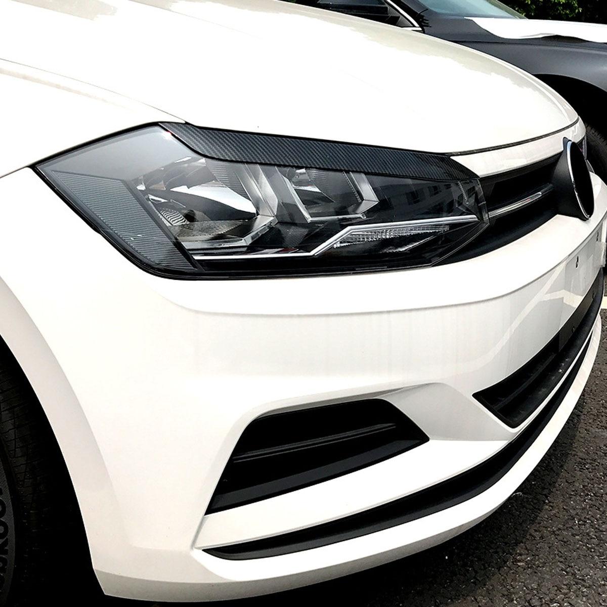 2X Gloss Black Eyebrow Headlight Eyelid Eyebrow Trims Cover For VW Polo MK5 18+