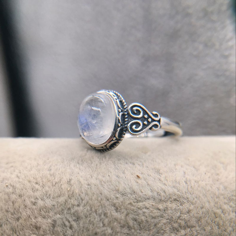 Jewelry Women Rainbow Moonstone Ring Oval Silver Plated Natural Gemstone