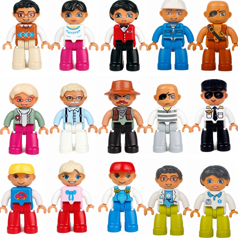 Duplo series building blocks grandparents daddy mom waiter character model duplo brick children educational building blocks toys
