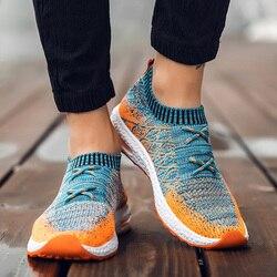2019 Мужская обувь Beathable Air Mesh Мужская Повседневная обувь слипоны носки для осени обувь мужские кроссовки Tenis Masculino Adulto размера плюс 46