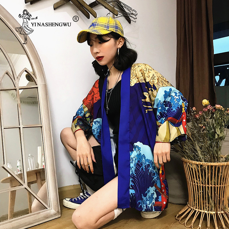New Harajuku Anime Printing Clothing Cardigan Kimono Yukata Summer Thin Section Japanese Kimono Traditional Men Women Blouse Top