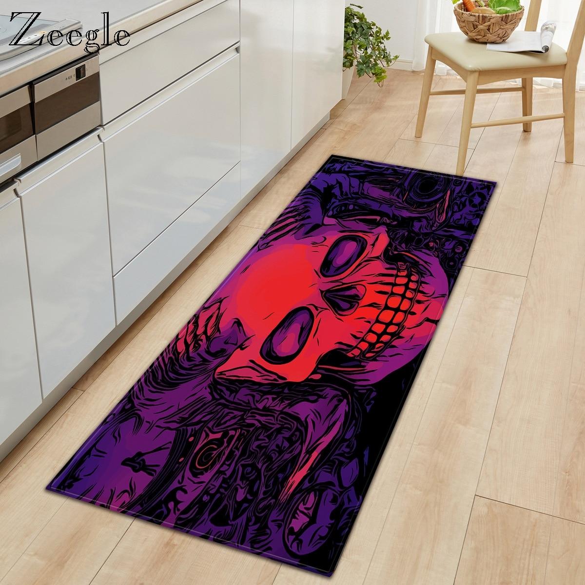 Zeegle Carpet Kitchen Rug Anti-slip Living Room Floor Rug Hallway Carpet Absorproof Bathroom Doormat Flannel Bedside Carpet Mat