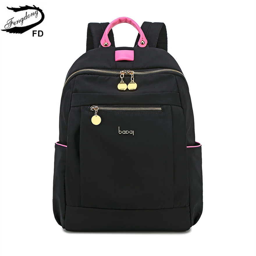 FengDong fashion black waterproof nylon school backpack for girls anti theft backpack female minimalist travel laptop backpack
