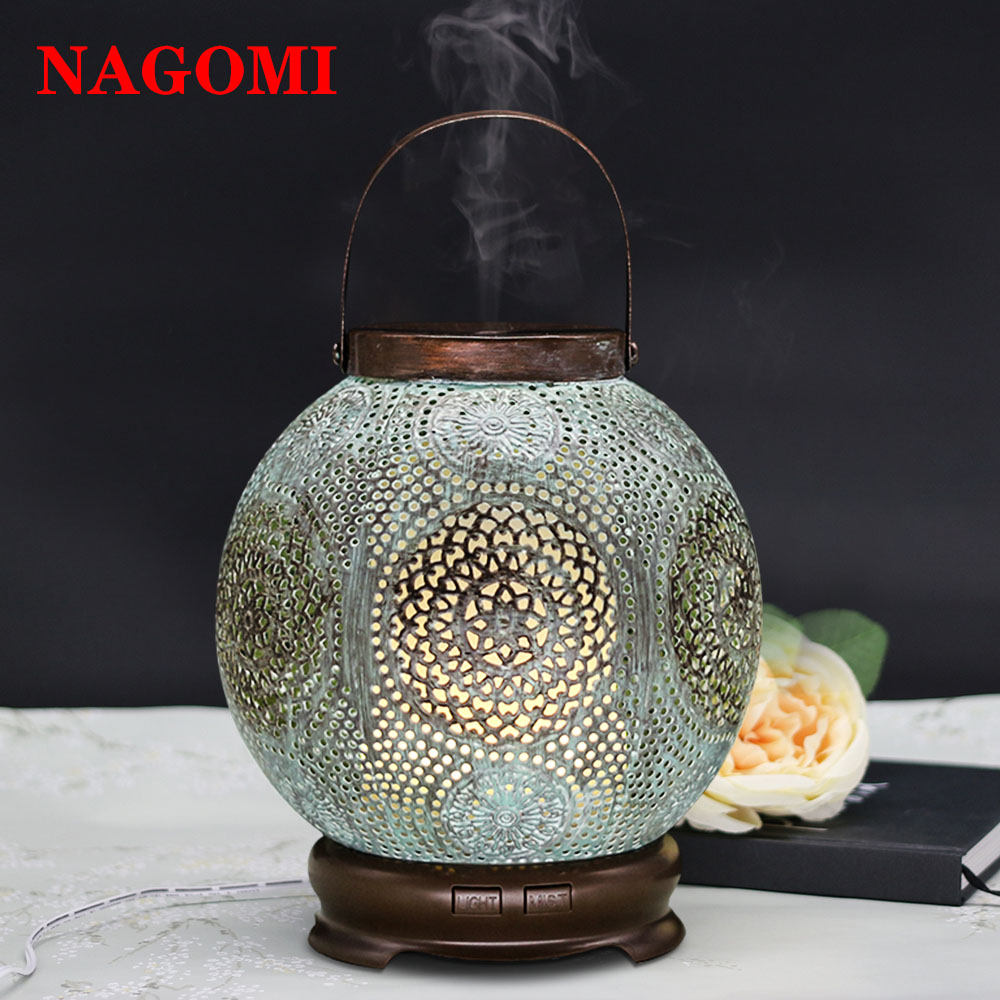 120ML Mist Maker Air Humidifier Aroma Essential Oil Diffuser Ultrasonic Electronic Humidifier Handmade Iron Home SPA LED Lights