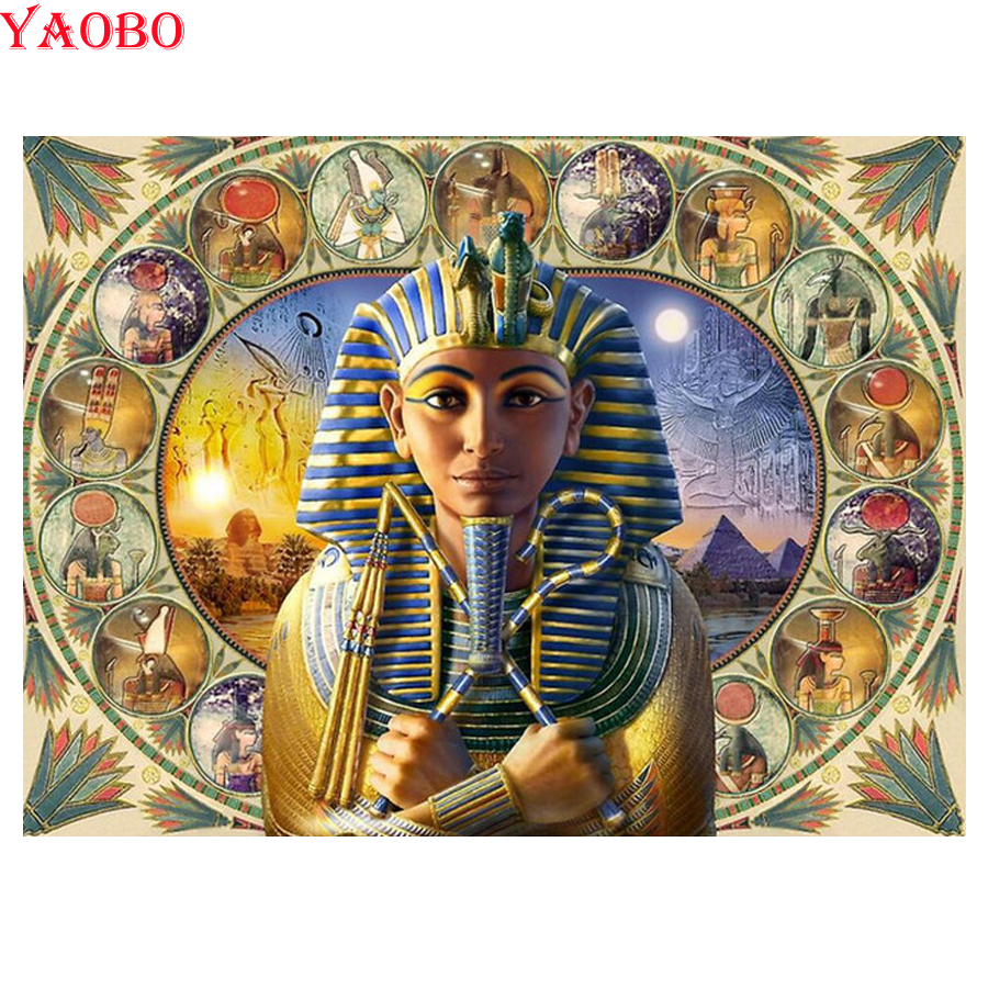 Sticker Diamond-Painting Mosaic Ancient Egypt Pharaoh Full-Square Embroidery Decor Round title=
