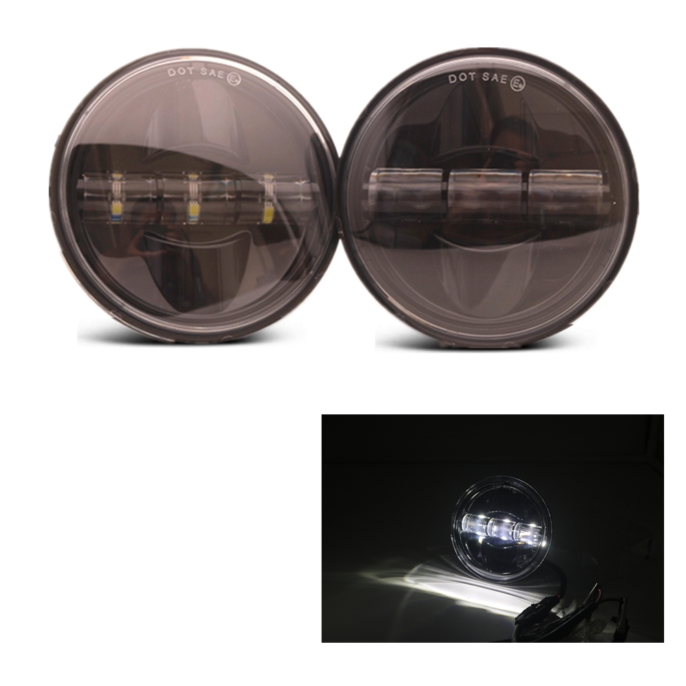 """4 1//2/"""" 4.5inch Chrome Auxiliary Passing Lamps Driving Spot Fog Lights For Harley"""