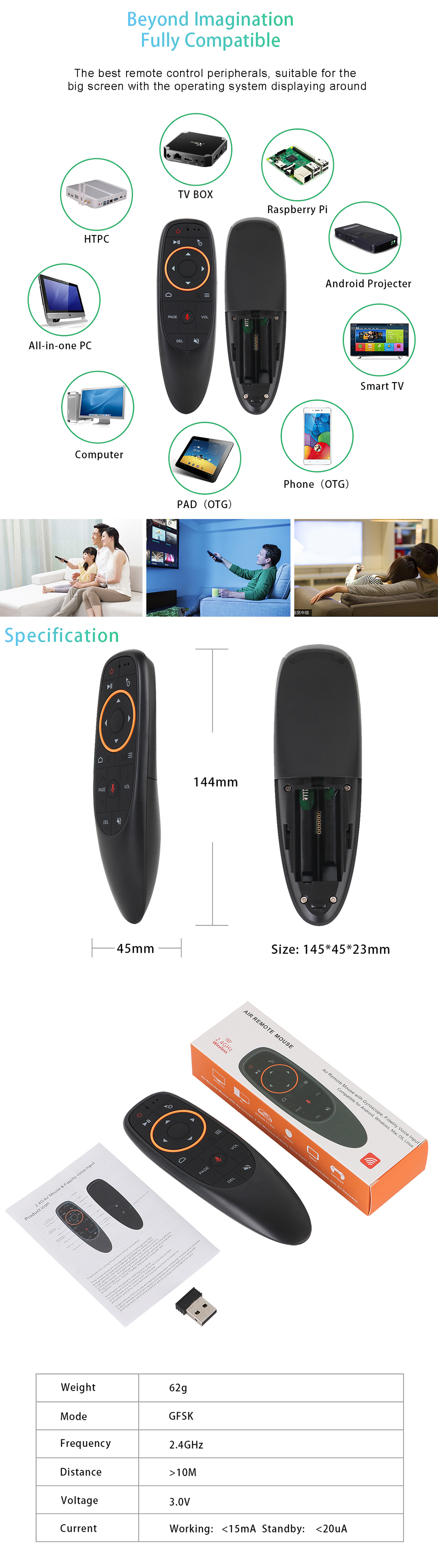 F10 2.4GHz WIFI Googlo Assistant Voice Remote Control Air Mouse