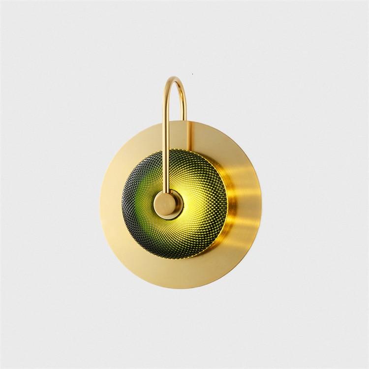 Postmodern light luxury personality golden round glass wall lamp glass light