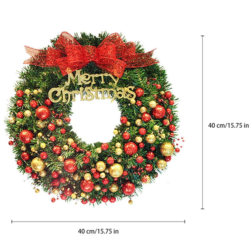 40cm Christmas Wreath Bow Red Gold Christmas Door Hanging Ornament