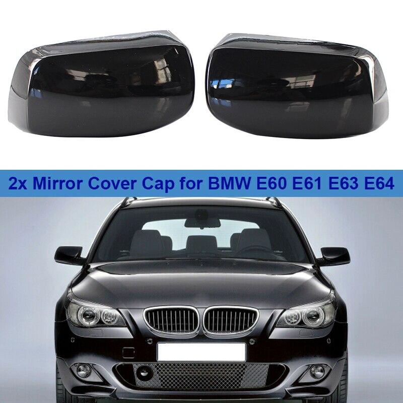 2X Carbon Fiber Rearview Mirror Cover Caps For BMW E60 E61 E63 E64 2003-2008