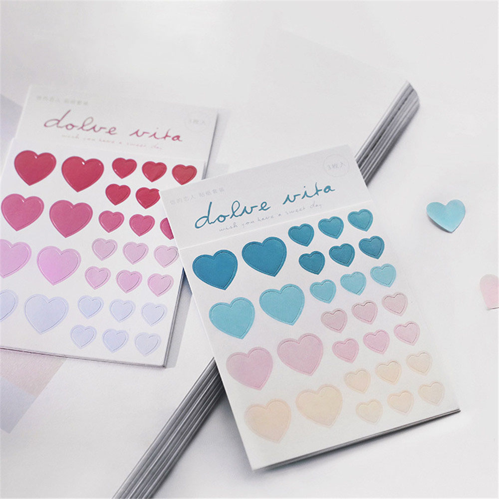3 Sheets Love Heart Stickers Journal Stickers Kawaii Stationery Sticker DIY Diary Scrapbooking Sticker Cute Washi Stickers