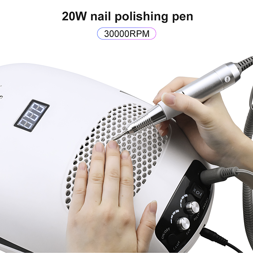 Full-featured 140W Manicure Machine With 30000Rpm Nail Drill Machine 80W Nail Lamp And 40W Vacuum Cleaner For Manicure Pedicure