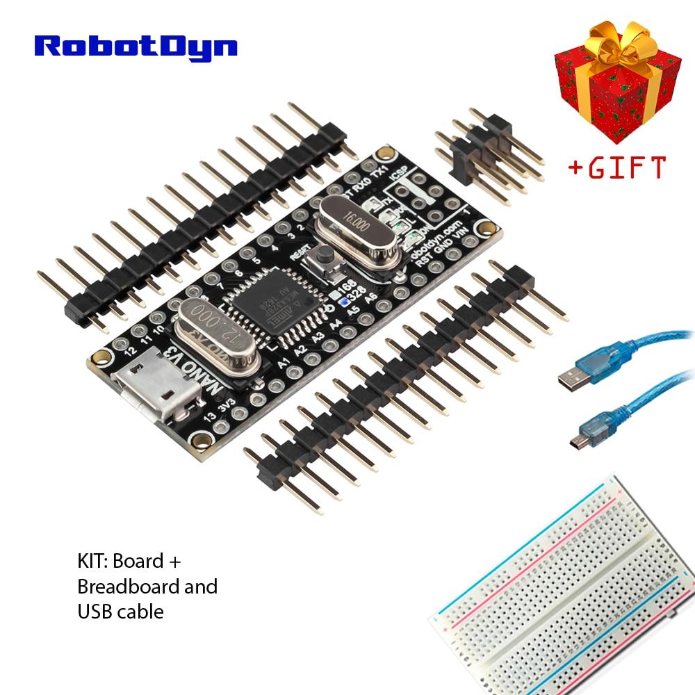 Hot Mini USB Nano V3.0 ATmega328P CH340 5V 16MHz SOLDERED HEADERS Arduino US