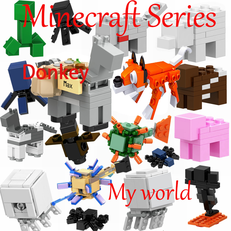 Legoing Minecraft My World Blocks Creeper Spider Bats Figurine Diy Toys Guardian Zombie Steve Figures Legoings Animals Minecraft