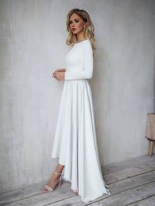 Wedding-Dress Bridal-Gowns Backless Long-Sleeves Lorie Bohemian Elegant Vestido-De-Noiva
