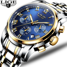 LIGE Men's Watch Quartz Men Sports Full-Steel Brand Chronograph Relogio Masculino