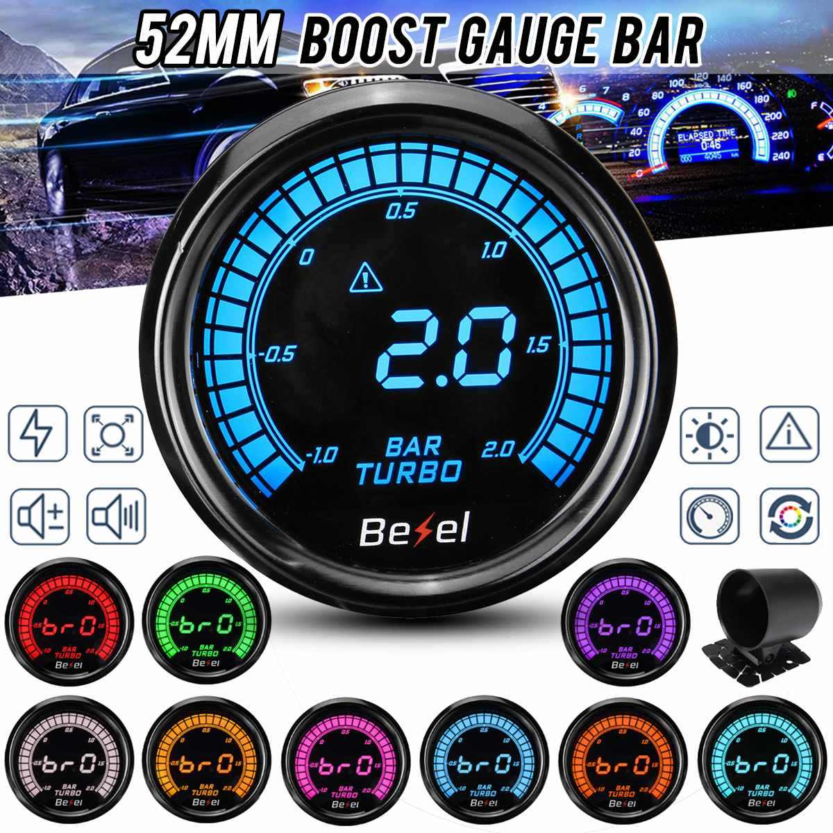 "2"" 52mm Universal Car Turbo Boost Pressure Gauge Meter 10 Color Digital LED Readout Display 0-9000RPM with Mount Bracket Cup"