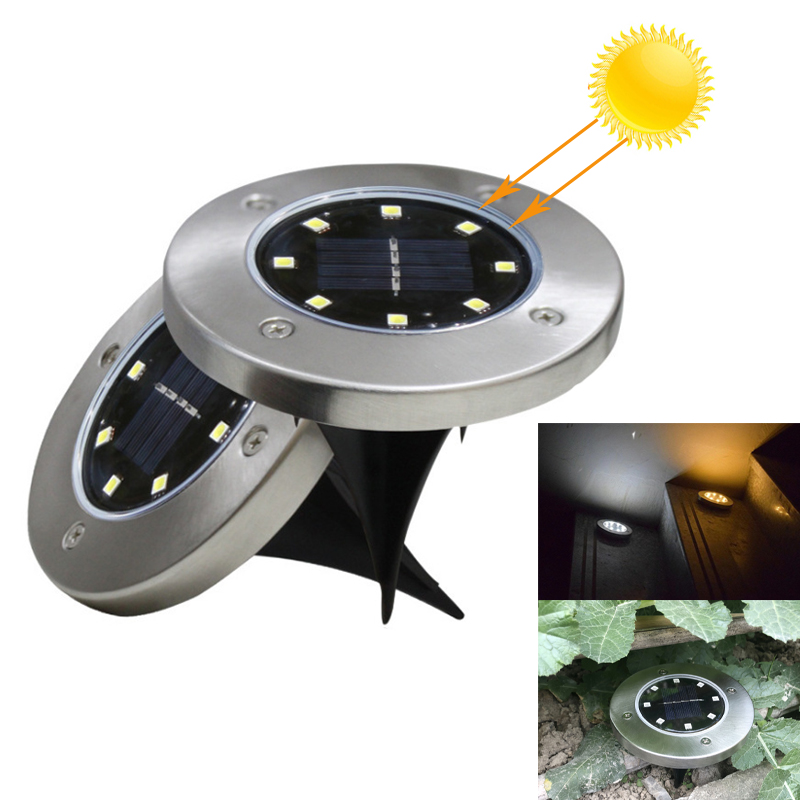 8 LED Solar Light Garden Ground Lamp Solar Power Buried Light Waterproof Outdoor Path Garden Landscape Decking Yard Lawn Light