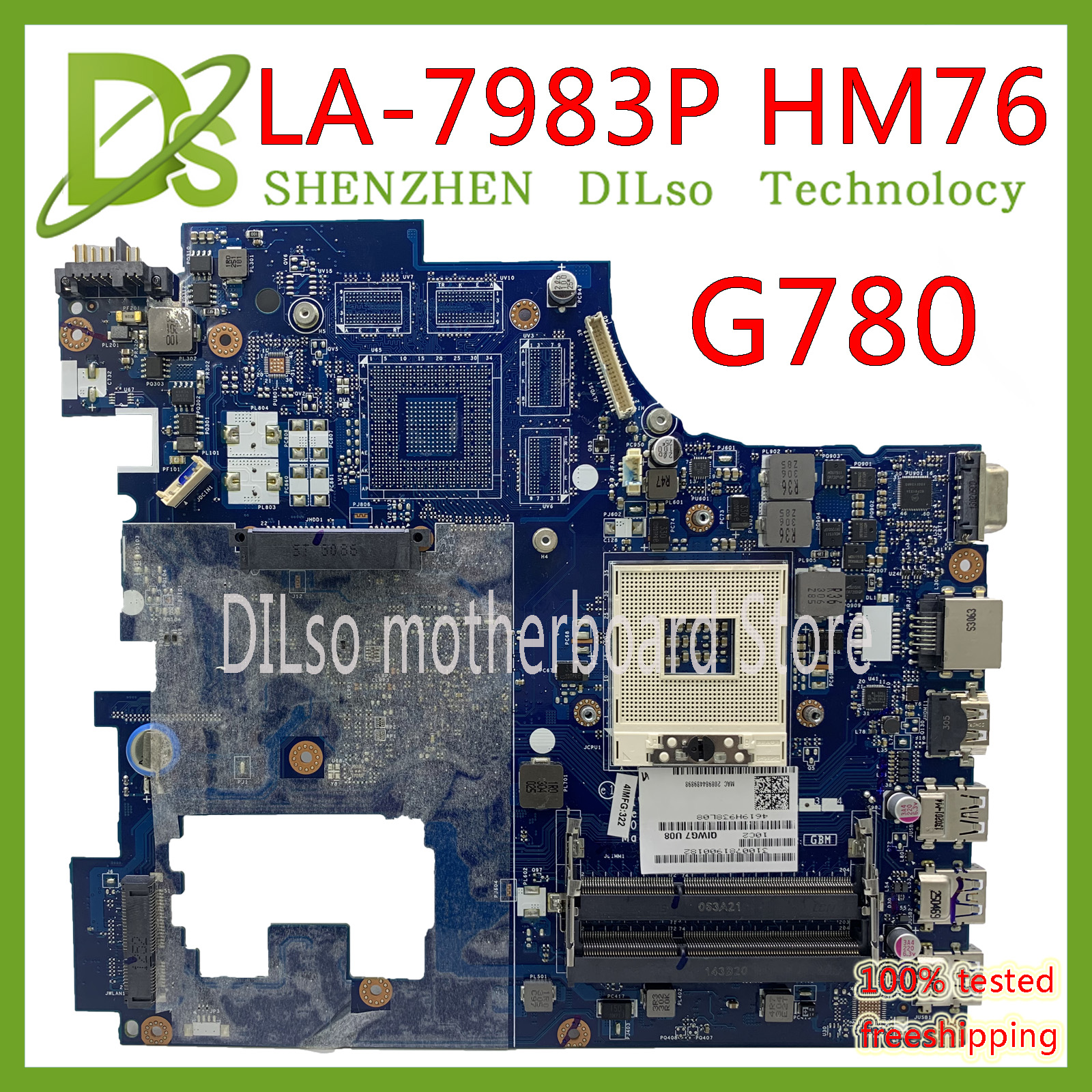KEFU PGA989 DDR3 HM76 Lenovo G780 LA-7983P for QIWG7 100%Original title=