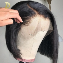 Wigs Bob-Wig Short Human-Hair Lace-Front 180-Density Straight Black Women Brazilian