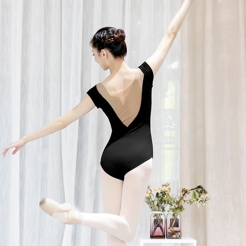 Ballet Leotards for Girls Women Sexy Neckline Cotton Soft Mesh Black White Gymnastics Leotard Ballet Dancing Costumes
