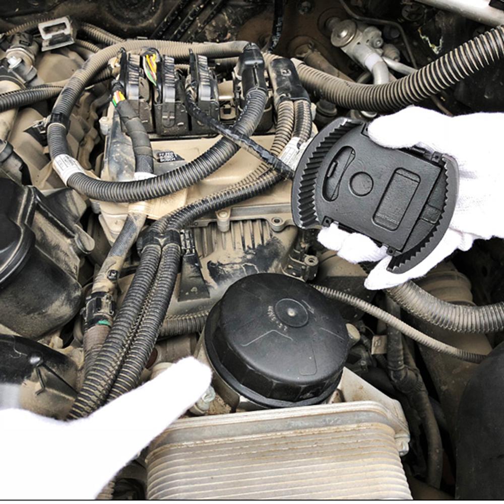 KKmoon 74 mm 14 F Llave de Filtro de Aceite Herramienta de extracci/ón de Filtro de Aceite 903 Plata para Volkswagen Mercedes Benz Audi Porsche