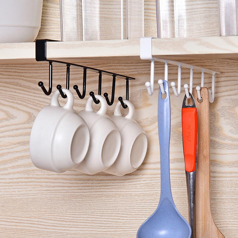 Rack Hooks Cup-Holder Organiser Cabinet-Storage Traceless Hang Kitchen Multifunctiona title=