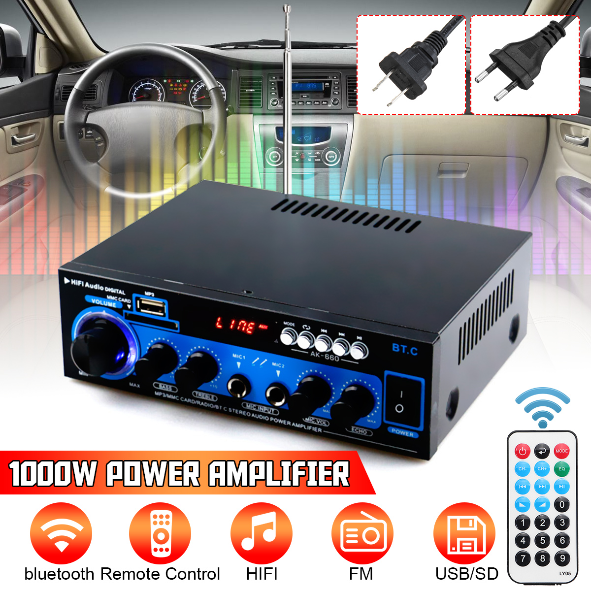 1000W 12V DC bluetooth Stereo LED Digital Amplifier HiFi USB SD Aux FM