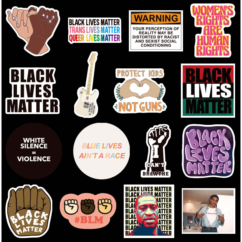 50PCS Black Lives Matter Stickers Decal For Stationery Laptop PS4 Suitcase Skateboard Motorcycle Guitar Waterproof Sticker