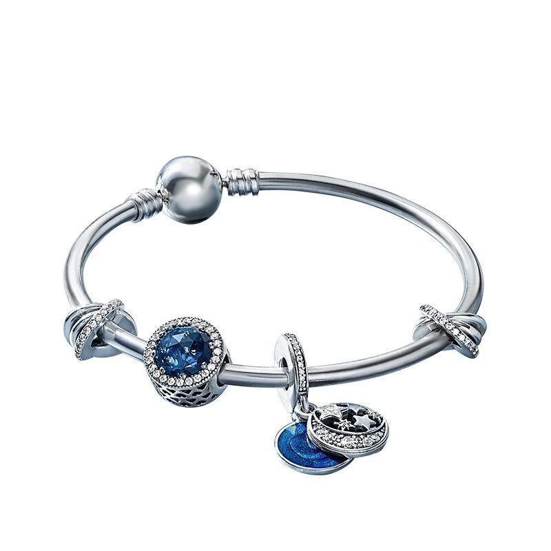 KC New 925 silver Starry Fairy Series Bracelet Set DIY beads Bracelet Fit original pandora charm Women Bracelet Jewelry Handmade