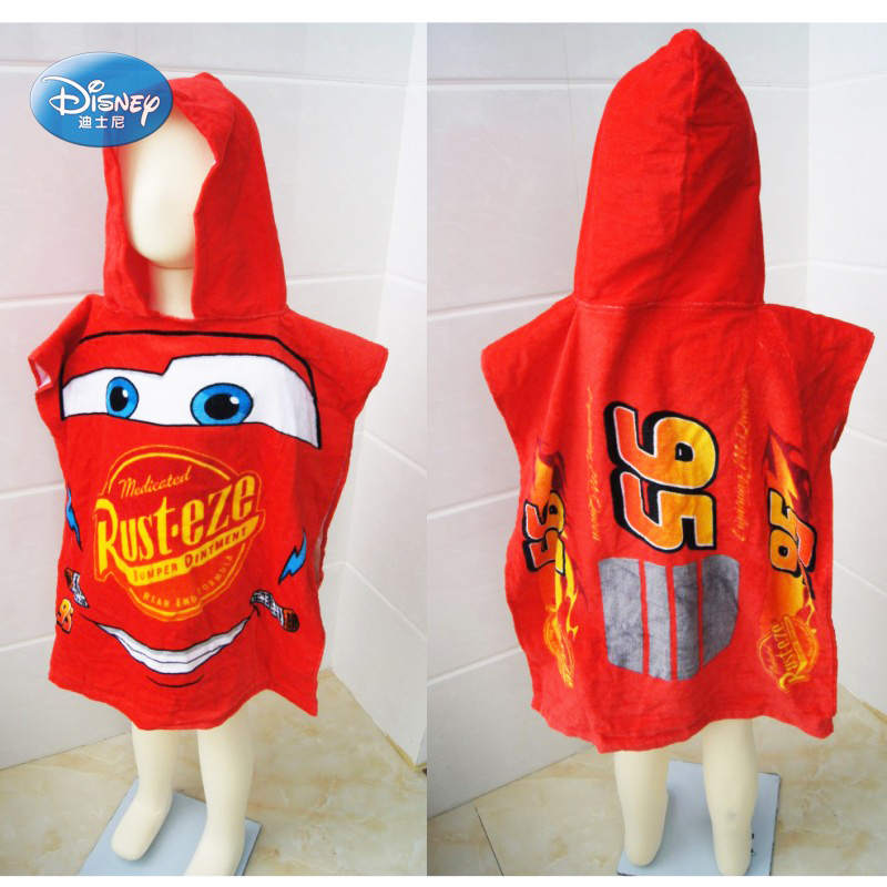 NEW!!! Disney//Pixar CARS Lightning McQueen Hooded Poncho Towel