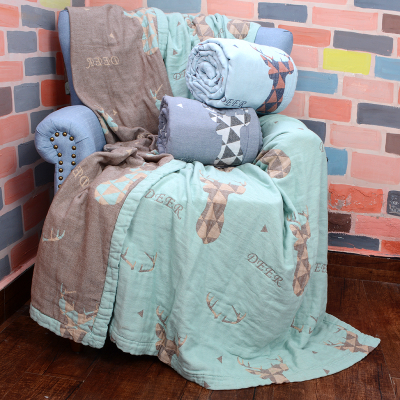 New popular ins style autumn 100% cotton 150x200cm five layer gauze Machine wash printed towel cover blanket Tyrande