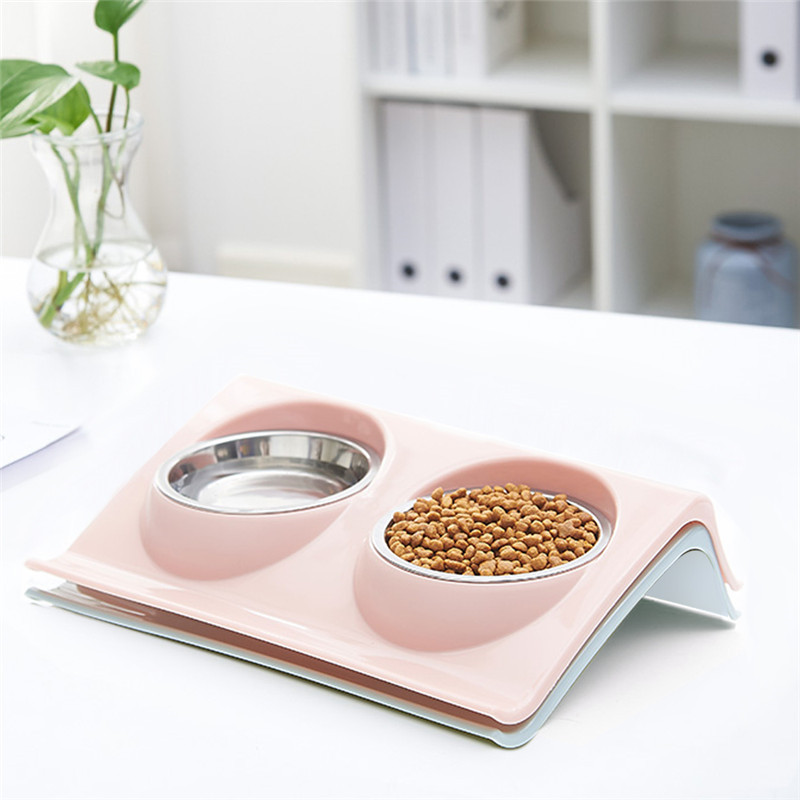 Pet double bowl shelf dog cat feeding bowl non slip stainless steel color double bowl