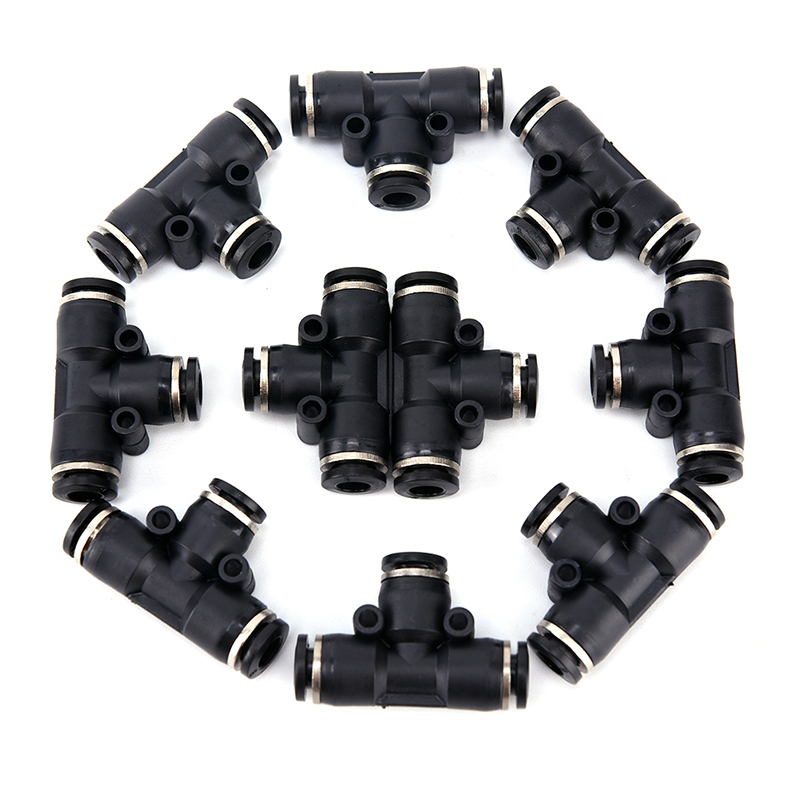 10pcs Tube OD 6mm 1/4 Tee Union Pneumatic Push Connector Air Line Quick Fittings