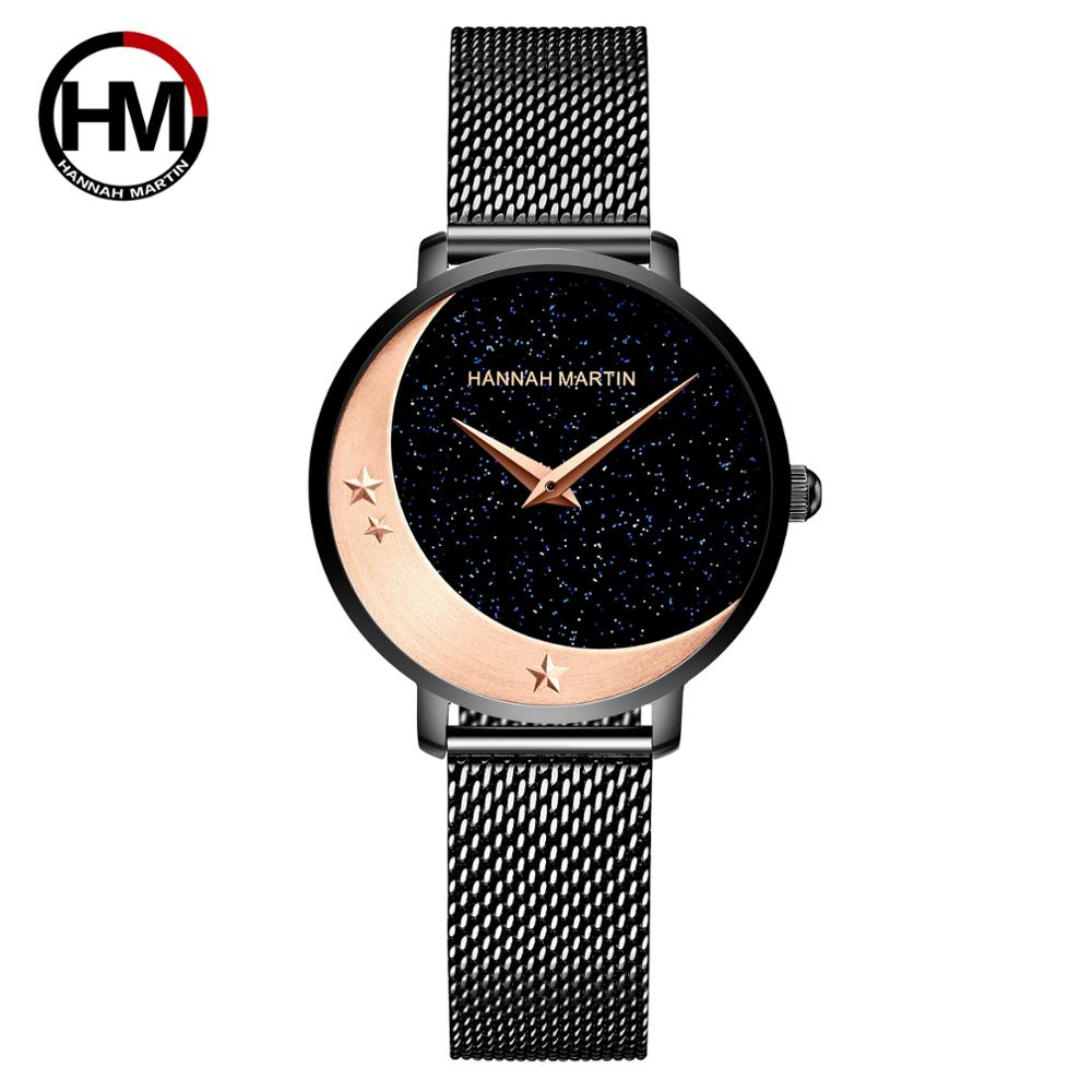 New Design Model Arrival Japan MIYOTA 2035 Quartz Movement Stainless Steel Wristwatch Moon Stars Night Flash Watches for Women