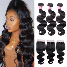 Mstoxic Body-Wave-Bundles Closure Brazilian-Hair with Weave Remy