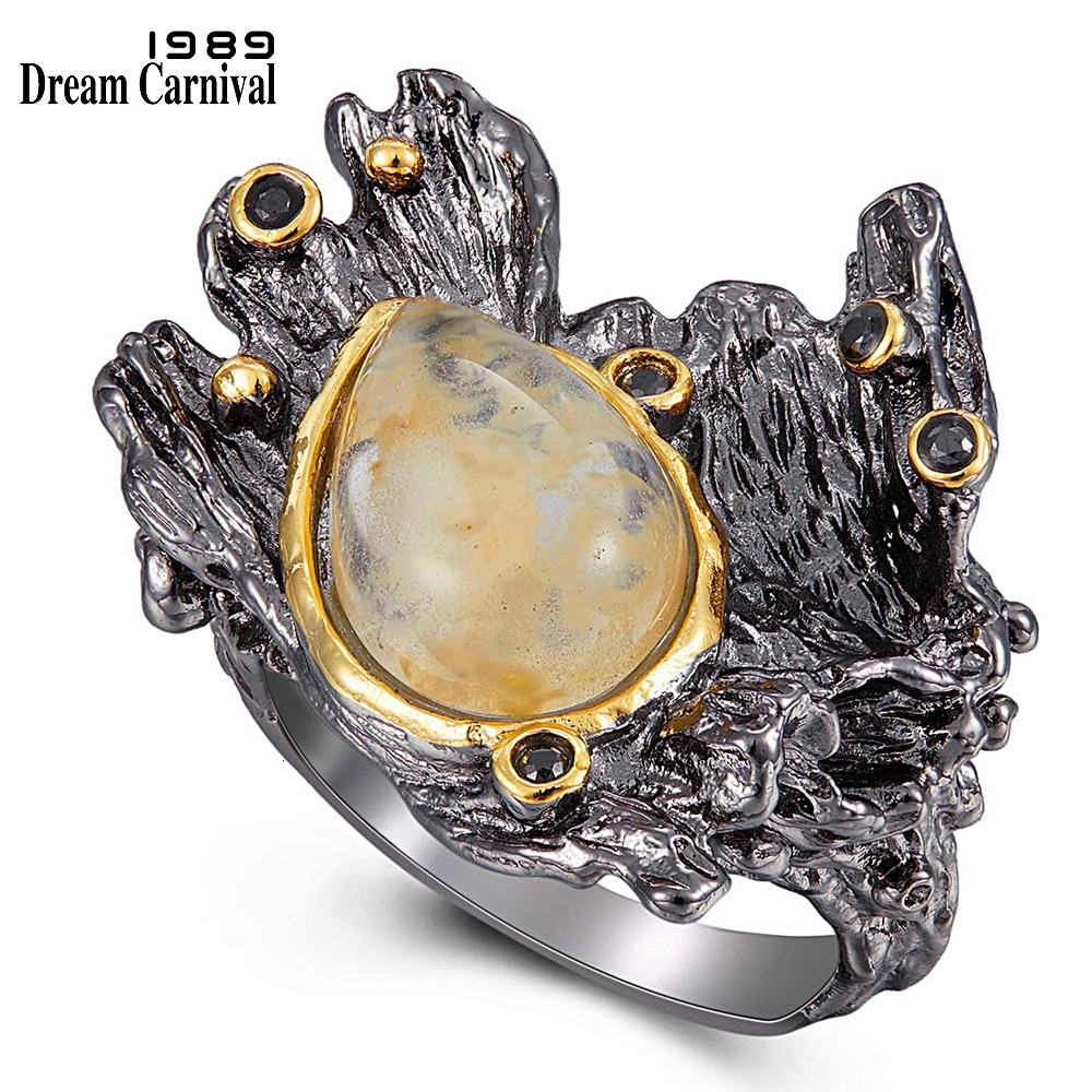WA11787 DreamCarnival1989 Amazing Women Rings Rough Stone Wedding Engagement Ring Strong Character Water Melon Zircon Gun Color  (9)