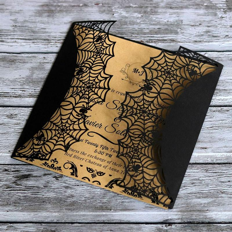 Cut Halloween Invitations Card Hollow Horror Party Cards Spiderweb 10x
